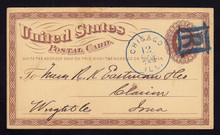 "UX3 UPSS# S2 1c Postal Card, BLUE Chicago Boxed ""R"", 1874"
