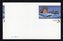 UX241 UPSS# 254 20c Winter Scene Mint Postal Card, MISCUT