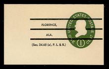 U532b 1c Franklin Green on White, die 3, Precanceled, Mint Full Corner