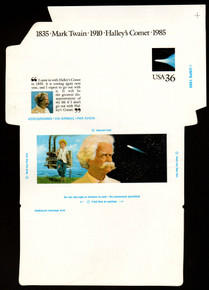 UC60, UPSS #ALS-26 36c Mark Twain, Mint, FOLDOVER