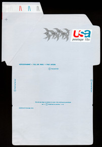 UC44a, UPSS #ALS-12 15c Birds in Flight, with AEROGRAMME, Mint, FOLDOVER Registration