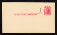 """UX32 UPSS# S44-29, New York """"Small Cent"""", Mint Postal Card, Surcharge left of stamp"""