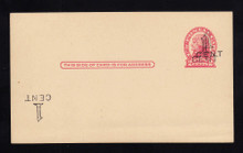 """UX33 UPSS# S45-28bbf, New York """"Large"""" Double Plus Inverted Surcharge, Mint Postal Card, bend at bottom"""
