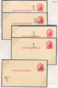 UX33 UPSS# S45-43, Springfield Surcharge, Mint, 5 Different Shurcharge Varieties