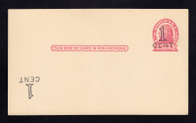 "UX32d UPSS# S44-28g, New York ""Large Cent"" Plus Inverted Surcharge LL, Mint Postal Card"