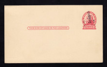 UX33 UPSS# S45-11, Cleveland DOUBLE Surcharge, Mint Postal Card