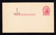 UX33 UPSS# S45-36, Pueblo Surcharge, Mint Postal Card, Surcharge at Left