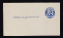 UX21e UPSS# S28f 1c William McKinley, Blue on bluish, Four Pointed Arcs, Type 1, Mint Postal Card