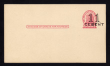 """UX34a UPSS# S46a-2b, San Francisco DOUBLE Surcharge, Mint Postal Card, Small """"spot"""" on Back"""