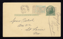 UX27 Long Branch, NJ 1953 LOCAL SURCHARGE, RARE