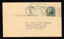 UX27 Albany, NY 1952 LOCAL SURCHARGE, RARE