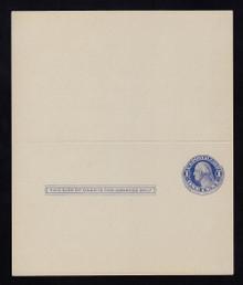 UY5 UPSS# MR8 Sep 1, 1c Washington, blue on blue Mint UNFOLDED