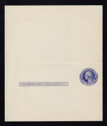 UY5 UPSS# MR8 Sep 3, 1c Washington, blue on blue Mint UNFOLDED