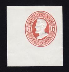 U85 6c Dark Red on White, Mint Cut Square, 44 x 48