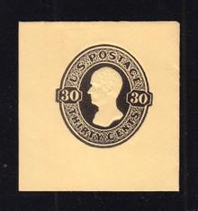 U205 30c Black on Amber, Mint Cut Square, 44 x 46