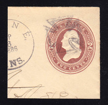 U288 2c Brown on White, die 2, Used Cut Square, 50 x 50