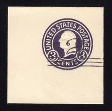 U448c 2c on 3c Dark Violet on White, die 7, Mint Full Corner
