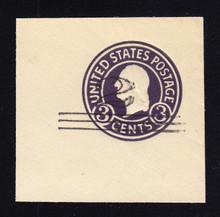 U448c 2c on 3c Dark Violet on White, die 7, Mint Cut Square