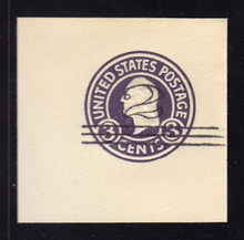 U448a 2c on 3c Dark Violet on White, die 5, Mint Cut Square