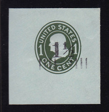 U493a 1 1/2c on 1c Green on Blue, die 2, Mint Cut Square, 50 x 50
