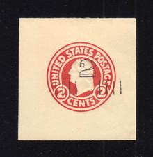 U454a 2c on 2c Carmine on White, die 1, Mint Cut Square, 45 x 46
