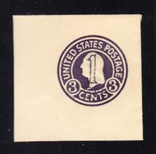UPSS # 3042 1c Postal Card Surcharge on 3c Dark Violet, die 5, Mint Full Corner, 47 x 47
