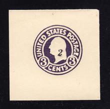 U477 2c on 3c Dark Violet on White, die 1, Mint Full Corner, 48 x 48