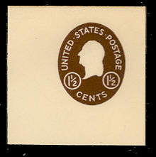 U535 1 1/2c Washington, Brown, Mint Full Corner