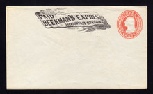 "U9 UPSS # 15 3c Red on White, Mint Entire, ""Beekman's Express/Jacksonville, OR"""