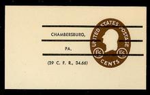U535 1 1/2c Washington, Brown, Precanceled, Mint Full Corner