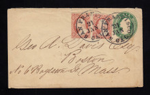 U13 UPSS # 21 6c Green on White, Used Entire, Double Rate CA to MA