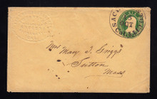 U14 UPSS # 22 6c Green on Buff, Used Entire, Embossed Sacramento Grocer Ad