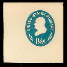 U541 1 1/4c Franklin, Turquoise, die 1, Mint Full Corner