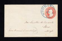 U1 UPSS # 1a 3c Red on White, Horizontally Laid Paper, Used, RARE