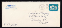 U586a, UPSS #3621a-47 15c on 16c Blue, Surcharge Omitted, Used Entire, Staple holes LL