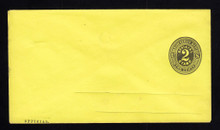 UO5 UPSS# PD23-4 2c Black on Lemon, Mint Entire, MIS-FOLD UNUSUAL