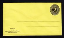 UO5 UPSS# PD23a 2c Black on Lemon, Mint Entire