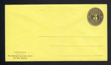 UO7 UPSS# PD37-5 3c Black on Lemon, Mint Entire