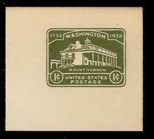 U523 1c Mount Vernon, Green, Mint Full Corner