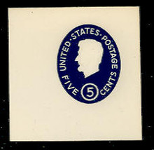 U544c 5c Lincoln, Dark Blue, die 2, with Albino impression of 4c U536, Mint Full Corner