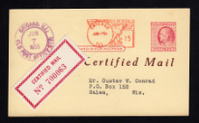 UX38 CERTIFIED Mail 1955, Paid by 15c METER
