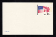 UX117 UPSS# S134aa 14c Stars & Stripes, Mint Postal Card, Tab Double Impression