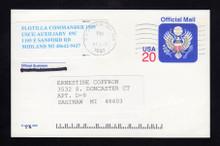 UZ6 UPSS# O6 20c Official Mail, multicolored Used Postal Card, USCG