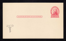 """UX33 UPSS# S45-28, New York """"Large Cent"""" Surcharge Inverted LL, Mint Postal Card,"""