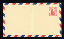 UXC3 UPSS# SA3c1 5c Eagle, red and blue Border Mint Postal Card, Thin Dividing Line at top
