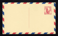 UXC3 UPSS# SA3c2 5c Eagle, red and blue Border Mint Postal Card, Thin Dividing Line at bottom