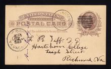 "UX8 UPSS# S7k 1c Thomas Jefferson, Scatch through ""O"", Used Postal Card"