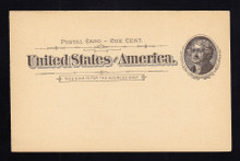 UX12 UPSS# S14 1c Thomas Jefferson, Black on Buff Clean Face Postal Card.