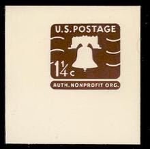 U547 1 1/4c Brown Liberty Bell, Mint Full Corner
