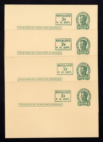 UX42 UPSS# S59 Mint Postal Cards, Set of 4 Head Type 2, Surcharges 1-4